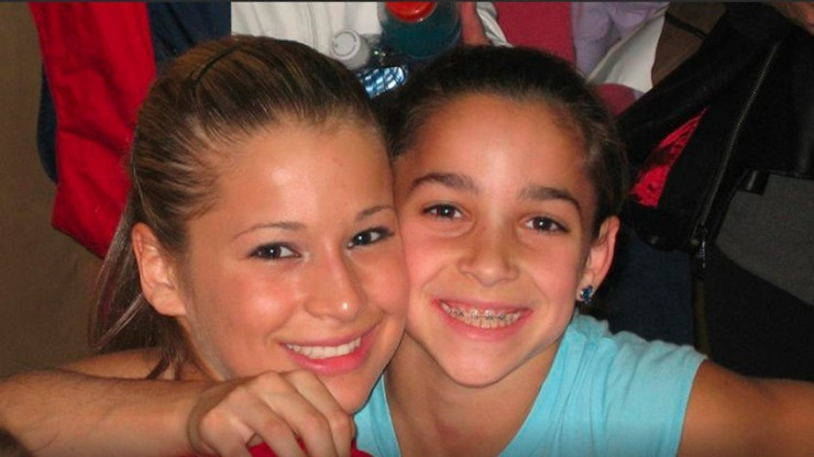 Raisman with 2008 Olympian Alicia Sacramone.