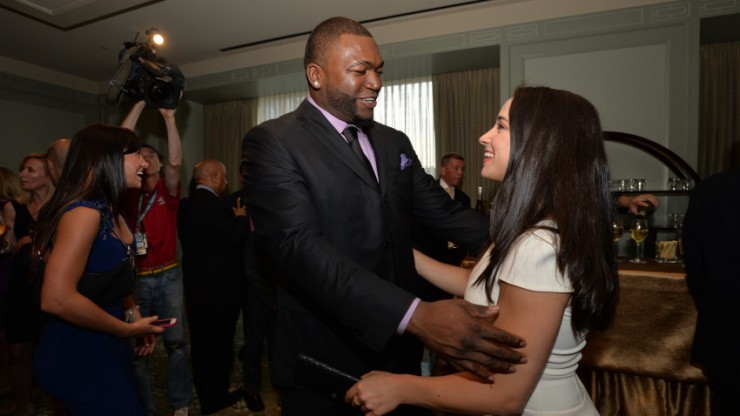 Aly Raisman at David Ortiz's fundraising event in 2014