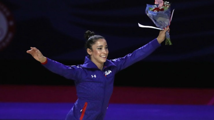 Raisman reacts after being named to represent the USA at the 2016 Olympics in Rio.