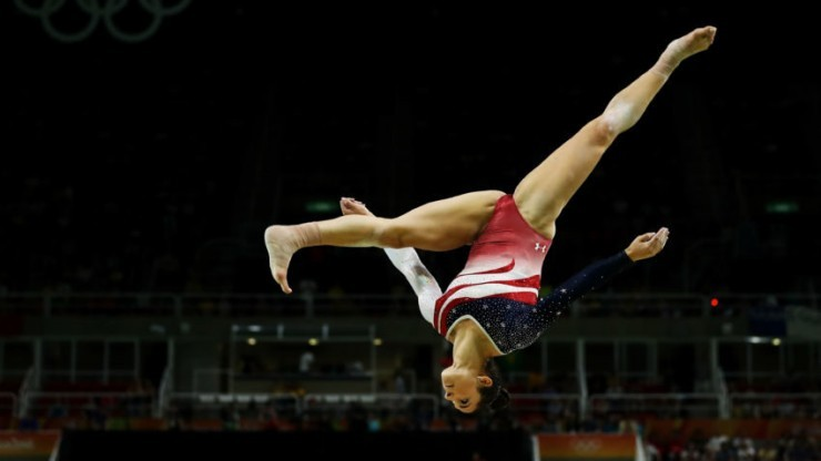 Raisman on the balance beam during the gymnastics