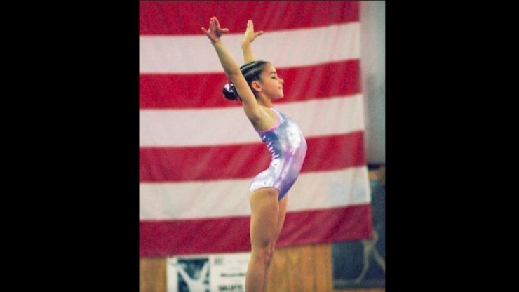 Raisman on a beam at the Karolyi Camp in Texas.
